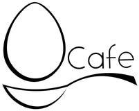 Contornos de la cuchara, logotipo del minimalist del café de la inscripción de los huevos libre illustration