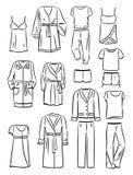 Contornos de la ropa del hogar de las mujeres Imagenes de archivo