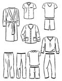Contornos de la ropa masculina del hogar Imagen de archivo libre de regalías