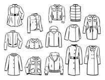 Contornos de las chaquetas y de los impermeables del otoño Foto de archivo