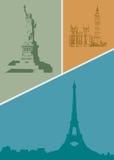 Contornos de las diversas ciudades del mundo Imagen de archivo libre de regalías