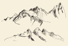 Contornos de las montañas que graban drenaje de la mano del vector Imagenes de archivo