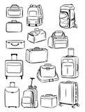 Contornos de los bolsos del viaje stock de ilustración