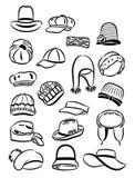 Contornos de los sombreros de las mujeres Fotos de archivo