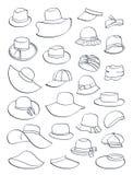 Contornos de los sombreros del verano stock de ilustración