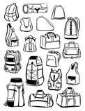 Contornos de mochilas y de bolsos Fotografía de archivo