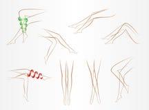 Contornos de piernas femeninas delgadas en diversas actitudes en un fondo ligero ilustración del vector