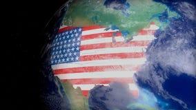 Contornos do mapa dos EUA do espaço relativo à geografia, ao curso, ao turismo ou à política dos EUA rendição 3d Fotos de Stock Royalty Free