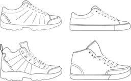 Contornos Trekking dos calçados dos esportes Fotografia de Stock Royalty Free