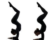 Contorsionist 2 женщин работая гимнастический силуэт йоги Стоковое Изображение RF