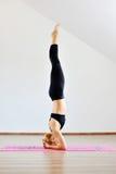 Contorsionista aucasian della donna del ¡ di Ð che pratica yoga relativa alla ginnastica Fotografia Stock