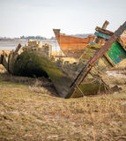 Contorted wreck. A warped and contorted wreck of the wyre estuary, Lancashire UK stock photography