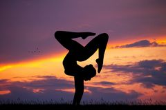 Contortion At Sunset Royalty Free Stock Photo