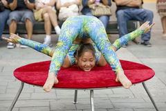 Contortionist 10. LOS ANGELES, SEPT 14:  Contortionist Enkhmurun, 11,  performing at the 2008 Moon Festival at the Los Angeles Chinatown Stock Images