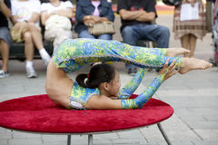 Contortionist 12. LOS ANGELES, SEPT 14:  Contortionist Enkhmurun, 11,  performing at the 2008 Moon Festival at the Los Angeles Chinatown Stock Photos