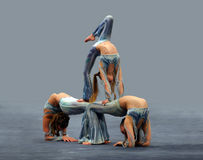 Contortionist girls. Flexible girls Royalty Free Stock Photography