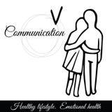 Contour étreignant l'icône de vecteur de couples Photos libres de droits
