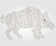 Contour abstract image of a wild boar. Illustration of abstract contour of a wild pig on white background Stock Photo
