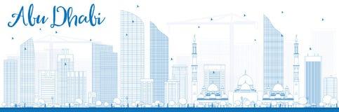 Contour Abu Dhabi City Skyline avec les bâtiments bleus Images libres de droits