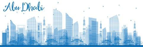Contour Abu Dhabi City Skyline avec les bâtiments bleus Images stock