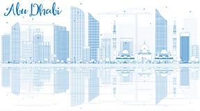 Contour Abu Dhabi City Skyline avec les bâtiments bleus et le Reflectio Image stock