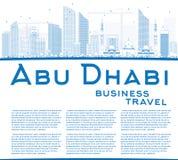 Contour Abu Dhabi City Skyline avec les bâtiments et la copie bleus Spac Photographie stock libre de droits
