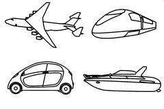 Contour of aircraft, car, train and yacht Royalty Free Stock Photos