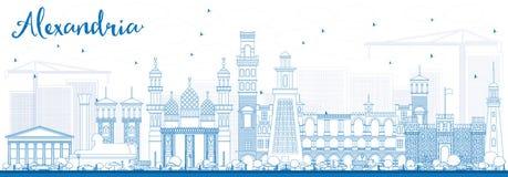 Contour Alexandria Skyline avec les bâtiments bleus Photos libres de droits
