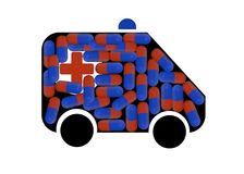 Ambulance and tablets stock photos