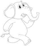 Contour animal pour le fonctionnement d'éléphant Illustration de Vecteur