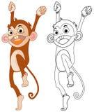 Contour animal pour le singe heureux Images libres de droits