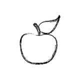 Contour apple fruit icon stock Royalty Free Stock Images