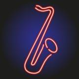 Contour au néon rouge rougeoyant de saxophone sur l'illustration foncée de vecteur de fond Images libres de droits