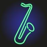 Contour au néon vert rougeoyant de saxophone sur l'illustration foncée de fond Images stock