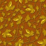 Contour autumn gold leaf seamless Stock Image