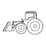 Contour backhoe loader icon Royalty Free Stock Image