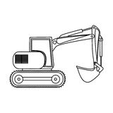 Contour backhoe loader icon Royalty Free Stock Photos