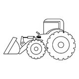 Contour backhoe loader icon Stock Photography