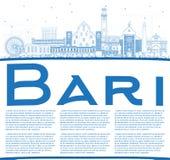 Contour Bari Italy City Skyline avec les bâtiments et la station thermale bleus de copie illustration libre de droits