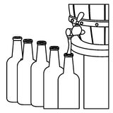 Contour beer bottles filling up icon. Illustration Royalty Free Stock Photo