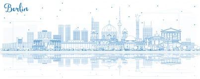 Contour Berlin Germany City Skyline avec les bâtiments bleus et le Refl illustration stock