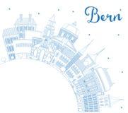 Contour Bern Switzerland City Skyline avec les bâtiments bleus et la Co illustration libre de droits