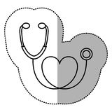 contour black sticker stethoscope with heart icon Royalty Free Stock Photo