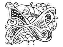 Contour black and white, abstract drawing, drawing with floral ornament of flowers and scribbles stock illustration