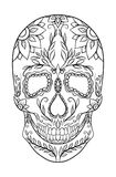 Contour black and white illustration of a sugar skull. Royalty Free Stock Photography