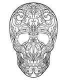 Contour black and white illustration of a sugar skull. Royalty Free Stock Photos