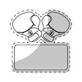 Contour boxing gloves fight to defend women. Illustration royalty free illustration