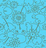 Contour bright seamless floral texture with flowers, water lilies, lotus, nature stylish pattern. Stock Photography