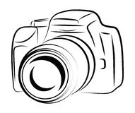 Contour Camera Drawing. Simplified Contour Camera Drawing isolated on white Stock Images