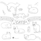 Contour cats set. Can be used for doodle video, like design element e t.c Royalty Free Stock Images